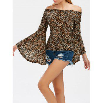 Off The Shoulder Leopard Print Tee