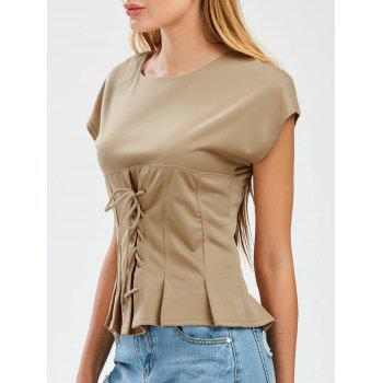 Lace Up Chiffon Blouse