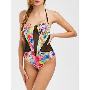 Floral Mesh Panel Underwire Swimwear