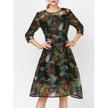 Fashionable Women's Round Collar Long Sleeve Printed Organza Dress