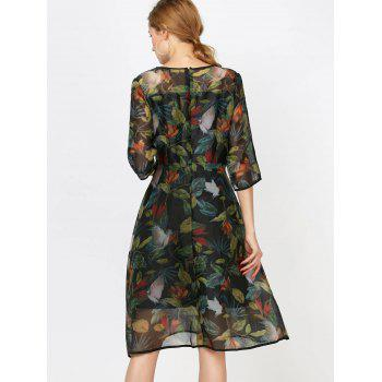 Fashionable Women's Round Collar Long Sleeve Printed Organza Dress - INK PAINTING M