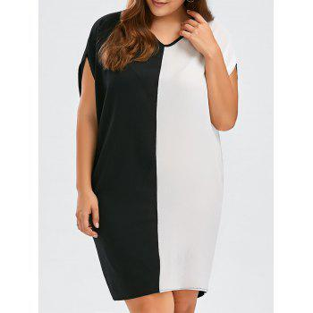 Chiffon Plus Size Colorblock Baggy Dress