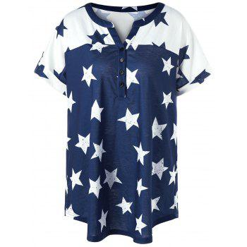 Plus Size Star Henley T-Shirt