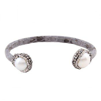 Rhinestone Artificial Leather Pearl Cuff Bracelet