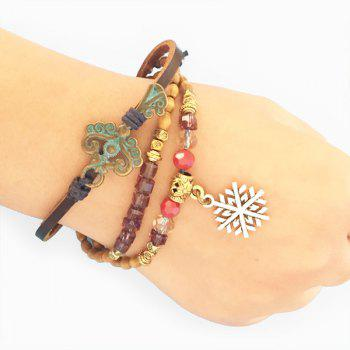 Adjustable Wooden Beaded Snowflake Charm Bracelet