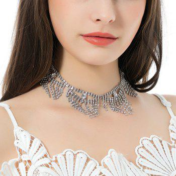 Sparkly Rhinestoned Alloy Geometric Fringed Chain Necklace