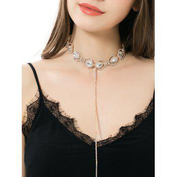 Sparkly Faux Crystal Alloy Rhinestone Chain Necklace