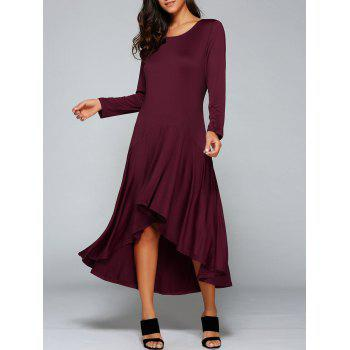High Low Pleated Long Formal Dress with Sleeves