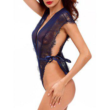 Plunge Lace Mesh See-Through Skimpy Teddy - M M