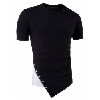 Color Block Asymmetric Metal Circle Panel Longline T-Shirt