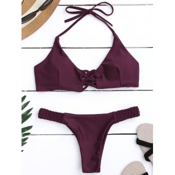 Braided Criss Cross Halter Push Up Padded Bikini