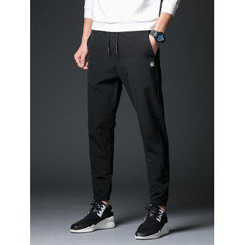 Drawstring Zipper Fly Polyester Applique Jogger Pants