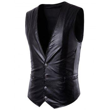V Neck Single Breasted Belt Design PU Leather Waistcoat