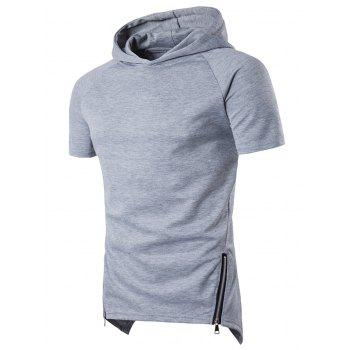 Short Raglan Sleeve Side Zip Up Longline Hoodie
