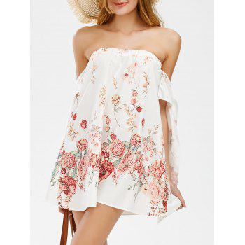 Off The Shoulder Mini Floral Holiday Dress - WHITE WHITE
