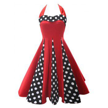 Halter Backless Polka Dot Vintage Dress