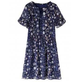 Plus Size Print Knee Length Dress