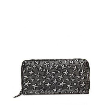 Star Embossed Zip Around Wallet - SILVER SILVER