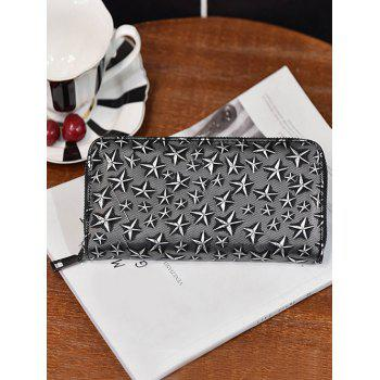 Star Embossed Zip Around Wallet -  SILVER