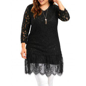 Openwork Plus Size Long Scalloped Lace Top