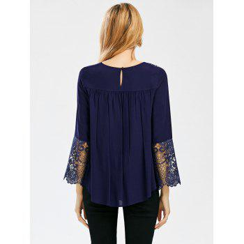 Crochet Lace Trim Bell Sleeve Smock Blouse - CADETBLUE CADETBLUE