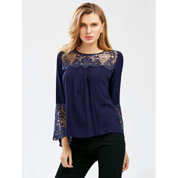 Crochet Lace Trim Bell Sleeve Smock Blouse - L L
