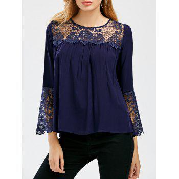Crochet Lace Trim Bell Sleeve Smock Blouse - CADETBLUE L
