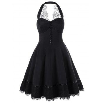 Halter Single Breasted Lace Hem 50s Dress