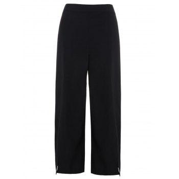Slit High Waist Wide Leg Pants BLACK