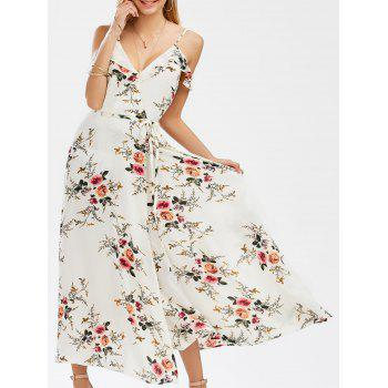 Dew Shoulder Tiny Floral High Slit Dress