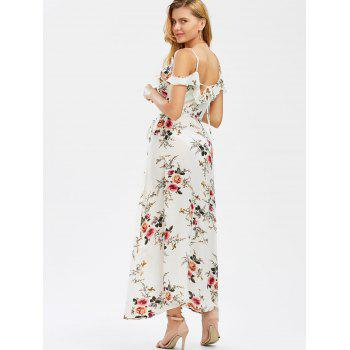 Dew Shoulder Tiny Floral High Slit Dress - WHITE 2XL