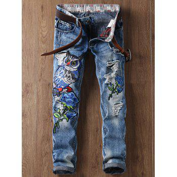 Ripped Straight Leg Floral and Owl Embroidered Jeans