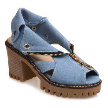Denim Zipper Sandals