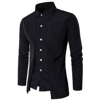 Long Sleeve Faux Twinset Panel Design Shirt