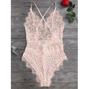 Scaolloped Eyelash Sheer Lace Teddy Bodysuit - APRICOT S