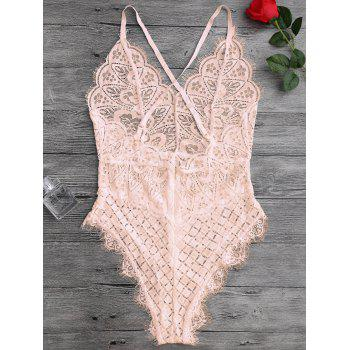 Scaolloped Eyelash Sheer Lace Teddy Bodysuit - APRICOT L