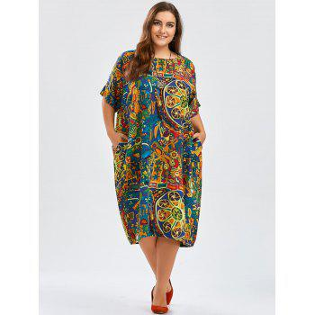 Funny Print Plus Size - Robe Midi Cocoon avec poches - multicolorcouleur ONE SIZE