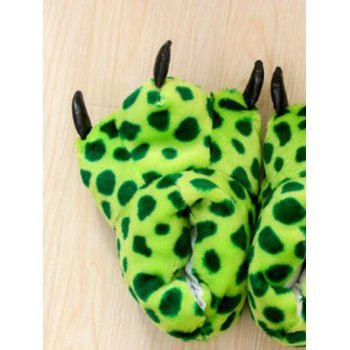 Leopard Print Tiger Stripes Bear Claw Peluche Talon Cover Couples Slippers - Vert