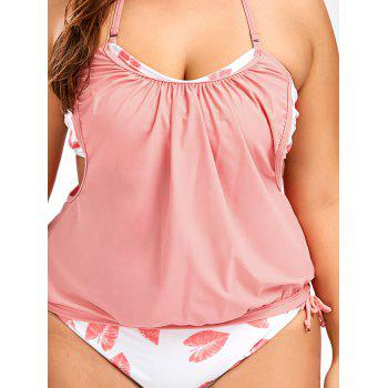Tropical Plus Size Halter Tankini Swimsuits - PINK 2XL