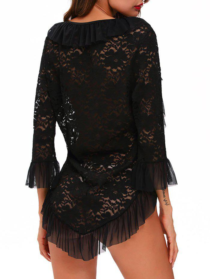Lace High Low Sleep Top With Ruffle Trim - BLACK M