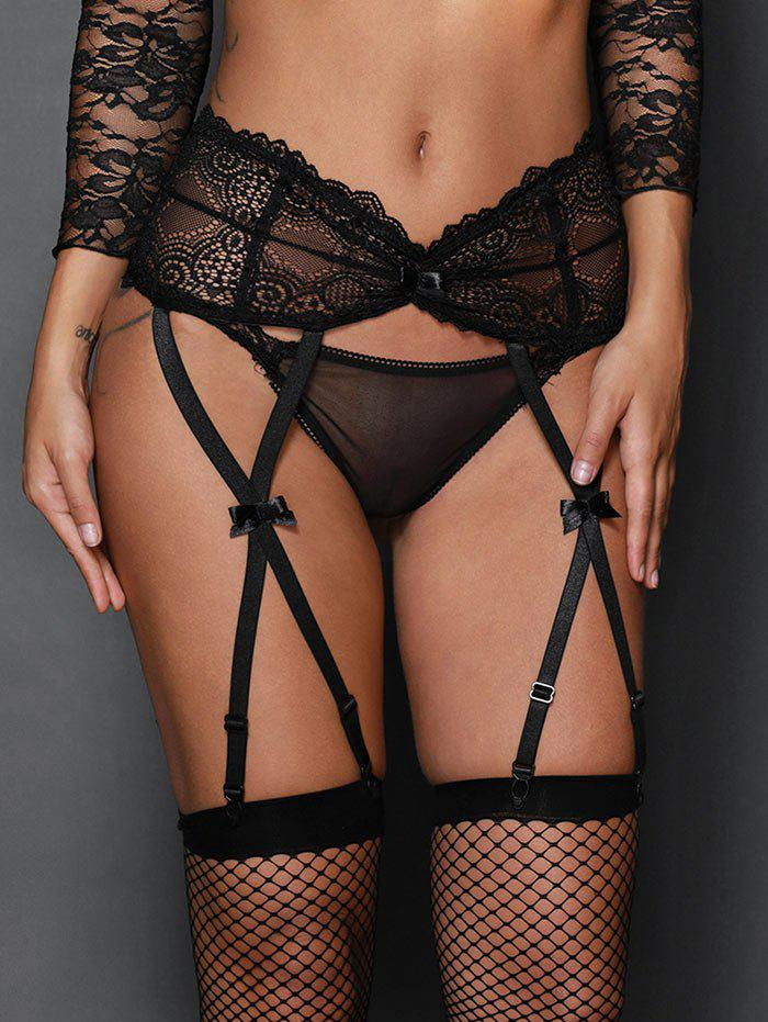 High Waist Steel Boned Lace Garter Briefs - BLACK M