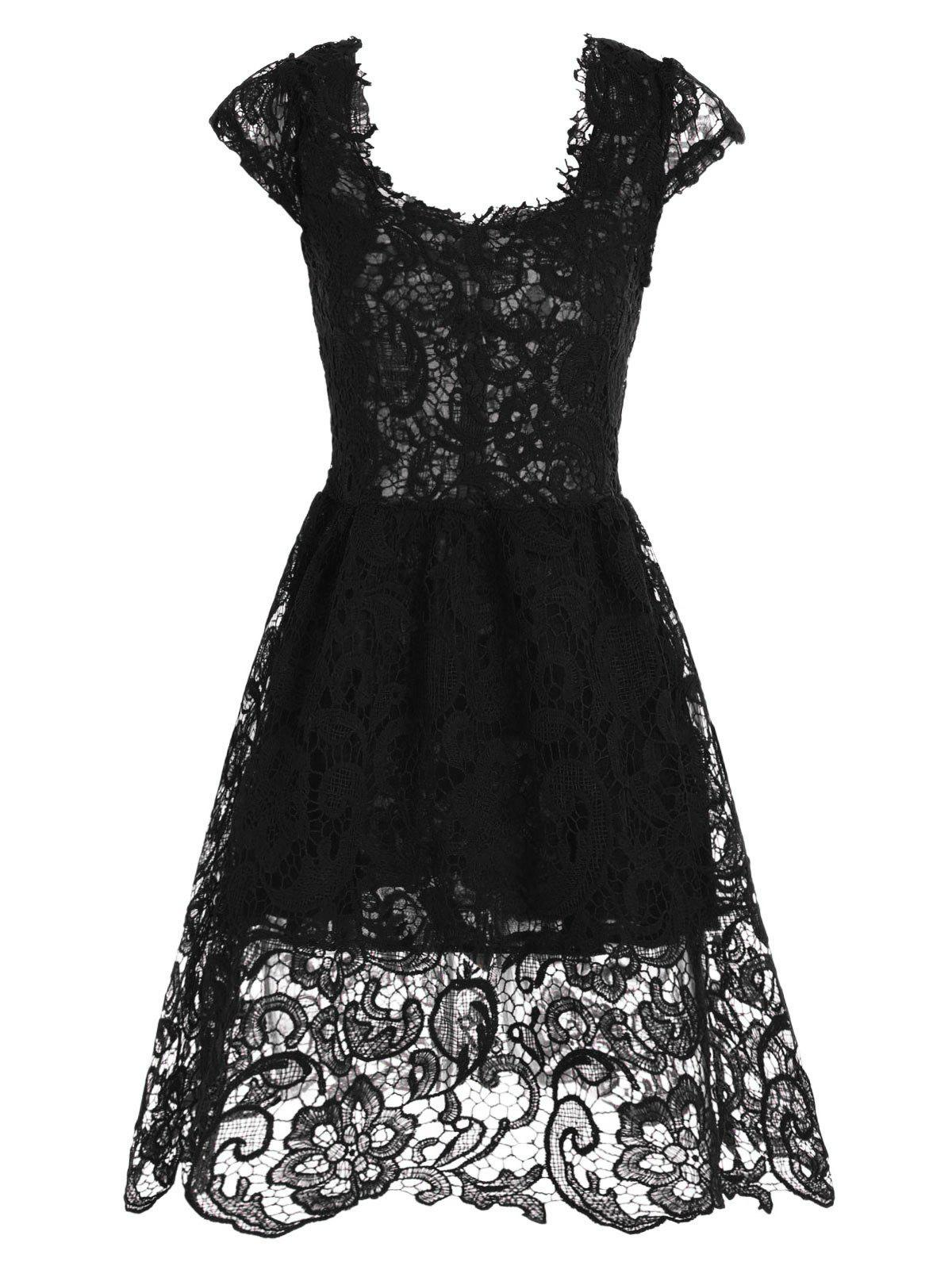 Cocktail Lace Short Fit and Flare Prom Dress lace overlay fit and flare dress