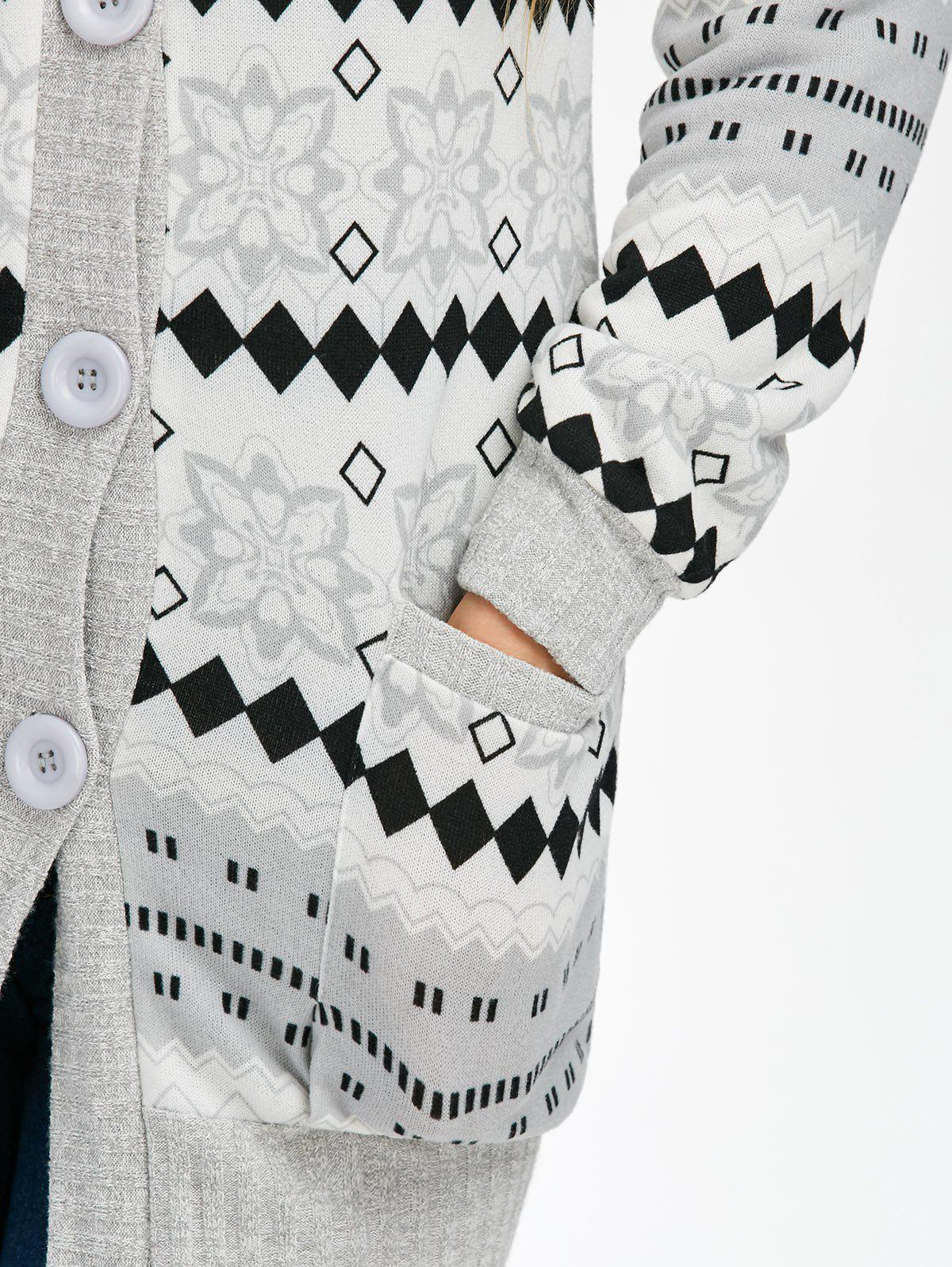 Geometric Button Up Hooded Cardigan - GRAY L