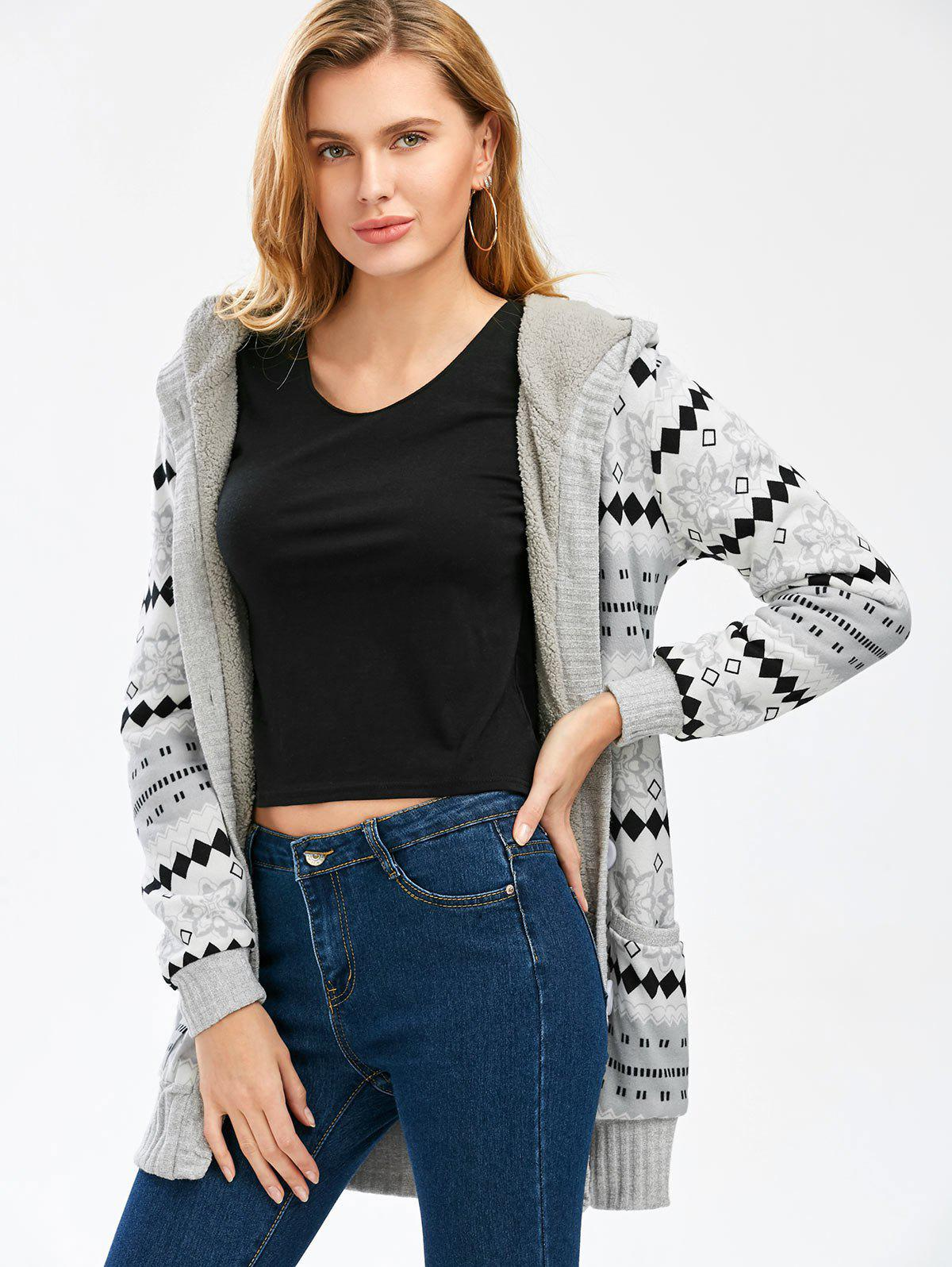 2018 Geometric Button Up Hooded Cardigan GRAY L In Sweaters ...