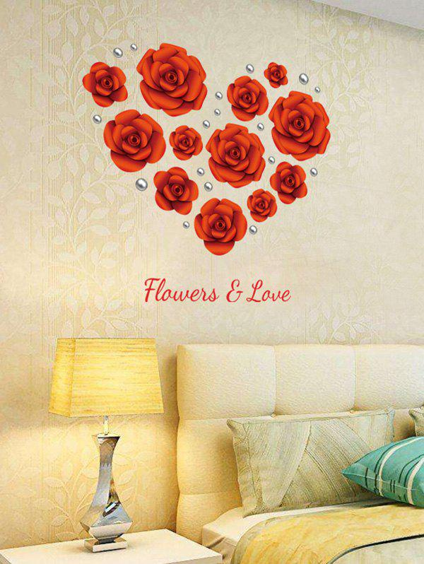 Rose Flowers Sticker en vinyle amovible - Rouge 60*90CM
