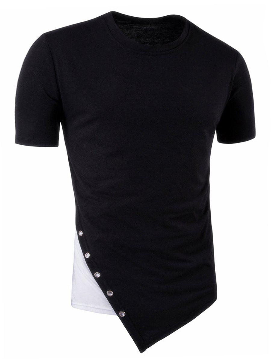 Color Block Asymmetric Metal Circle Panel Longline T-Shirt все цены