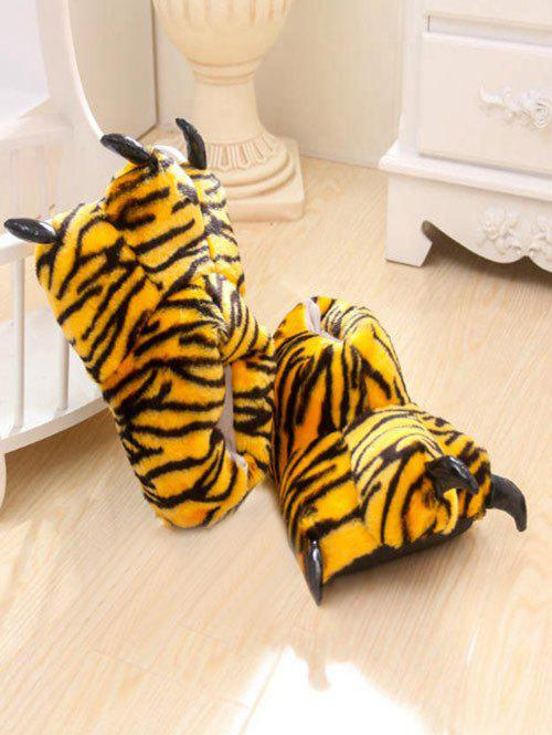 Leopard Print Tiger Stripes Bear Claw Peluche Talon Cover Couples Slippers - Jaune