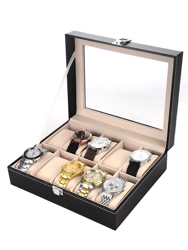 Collection Classic 10 Grids Leather Watches Case Display Box black jewelry watch box 10 grids slots watches display organizer storage case with lock