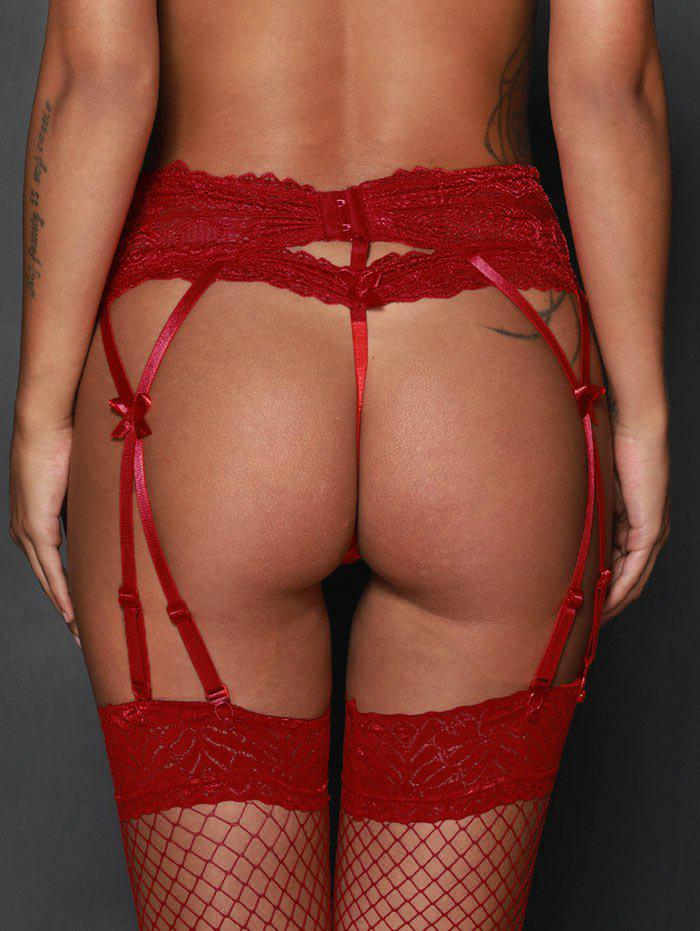 High Waist Steel Boned Lace Garter Briefs - RED L