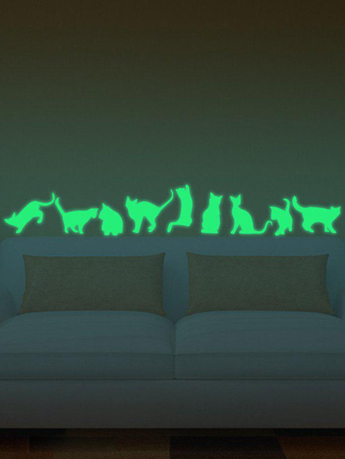 2018 Glow In The Dark Cat Animals Wall Stickers Neon Green